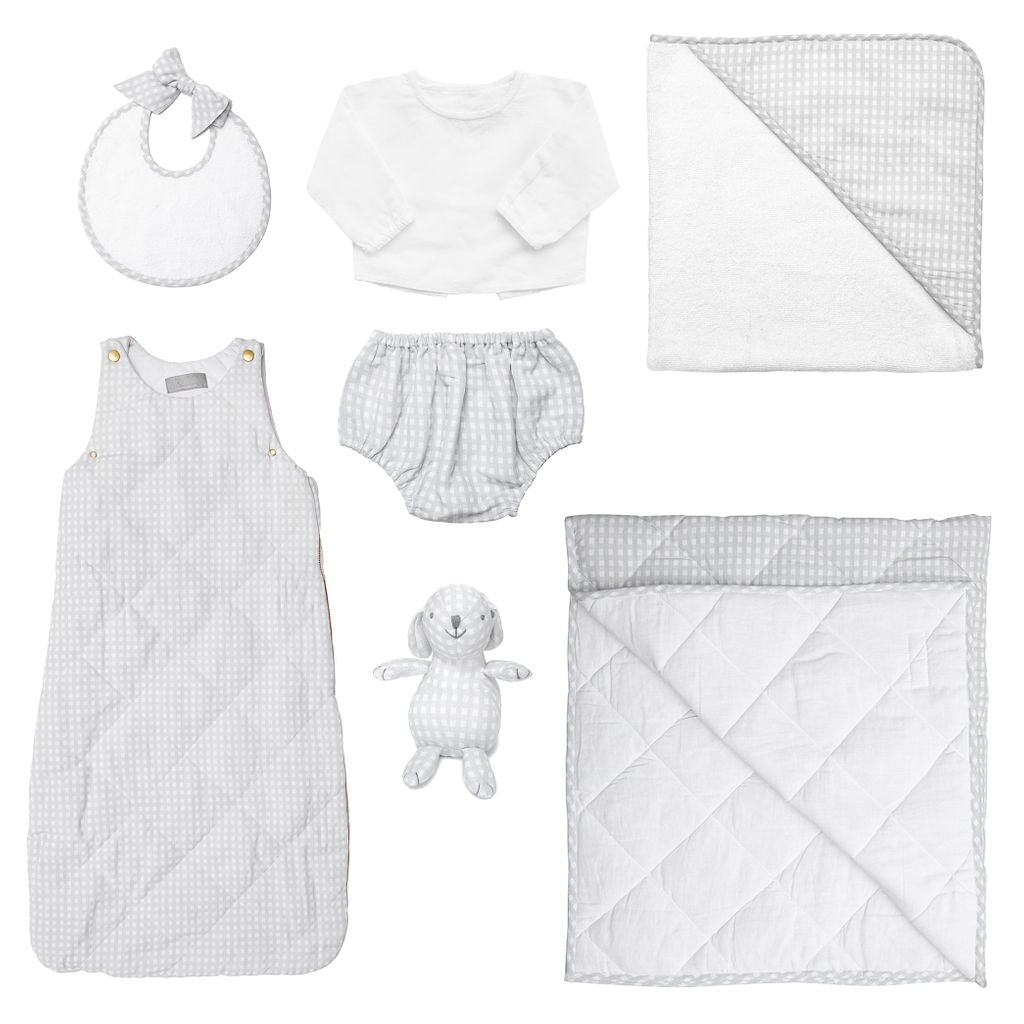 Luxe Baby Gift Set | Grey Gingham