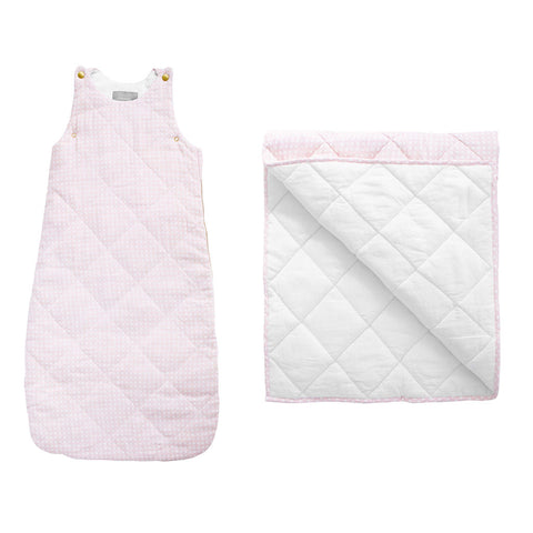 Sleeping bag and play mat gift set  | dusty pink gingham