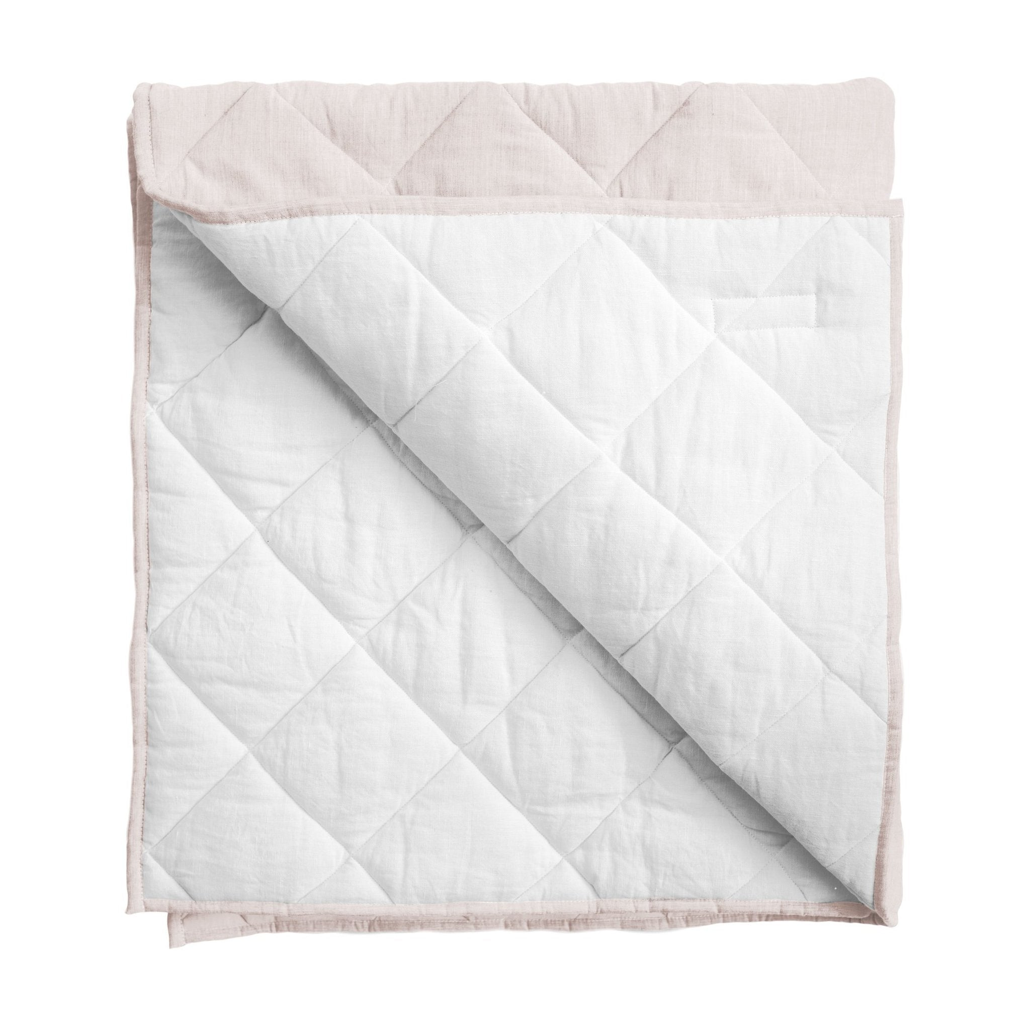 Play mat / Quilt | Blossom pink and white linen, reversible