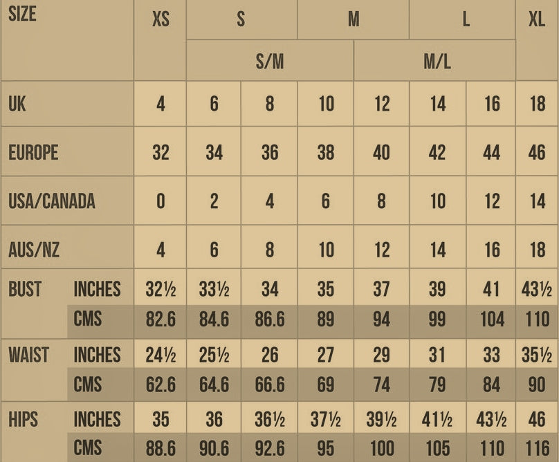 sizing chart for Dark Wilds handmade clothing