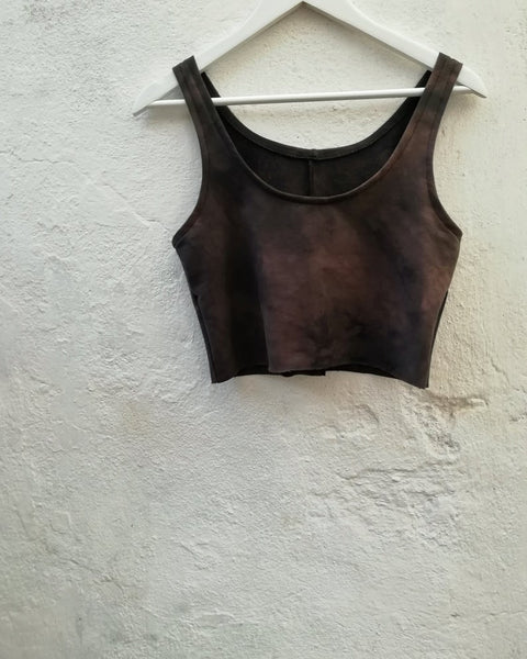 Dark earthy brown crop top