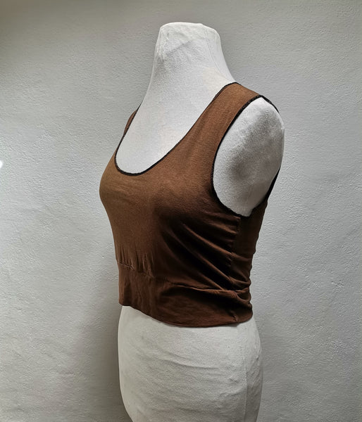 Bronze silk crop top