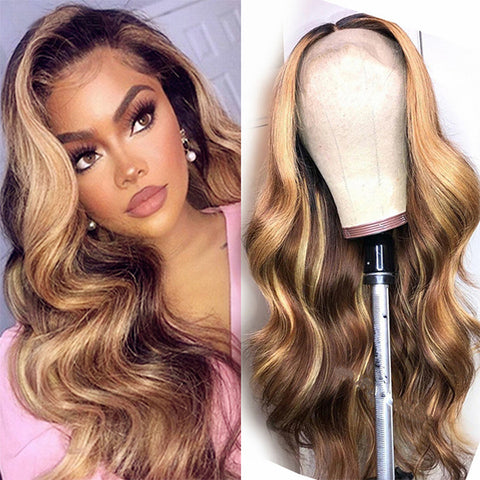 highlight ombre brown wig