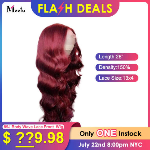 Flash Deal 99J Burgundy Body Wave Hair 13x4 Lace Front 28 Inches