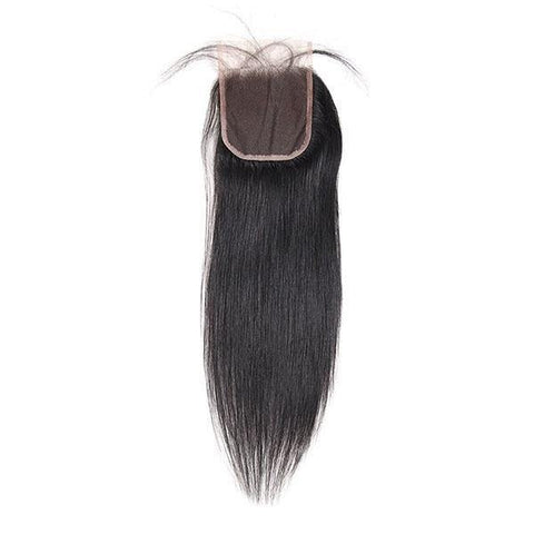 10A Brazilian Straight Virgin Human Hair 4 Bundles with 4*4 Lace Closure - MeetuHair