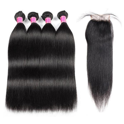 10A Malaysian Straight Virgin Human Hair 4 Bundles With 4*4 Lace Closure - MeetuHair