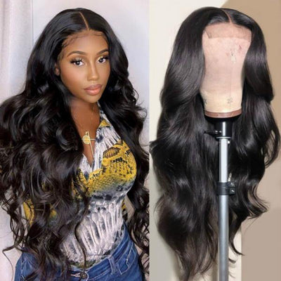 10A Peruvian Hair 4*4 Lace Front Wig Body Wave Human Hair Wigs - MeetuHair