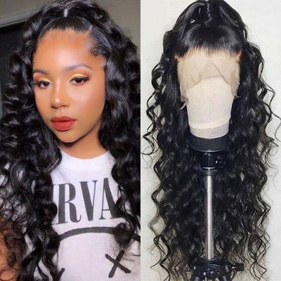 10A Peruvian Loose Deep Wave Wig 4*4 Lace Front Human Hair Wigs - MeetuHair