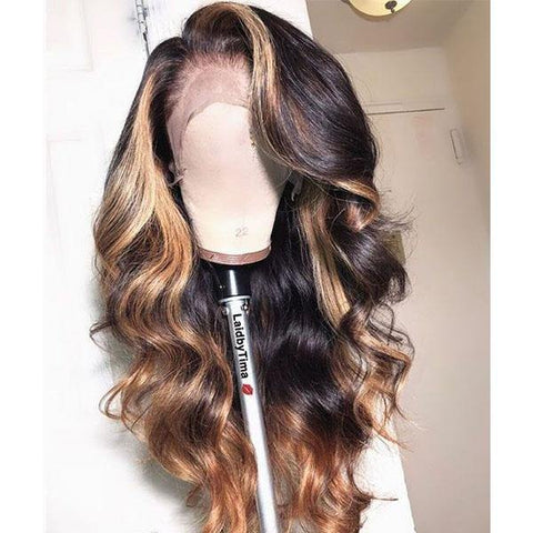 13*4 Frontal Wig Highlight Brown Hair Blonde Wigs Body Wave Hair 4/27 Ombre Highlight Human Hair Wigs - MeetuHair