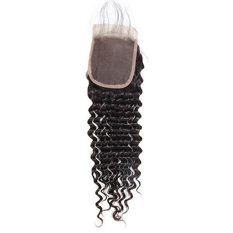 Brazilian Deep Wave Human Hair 4 Bundles With 4*4 Lace Closure 10A Virgin Human Hair Weave