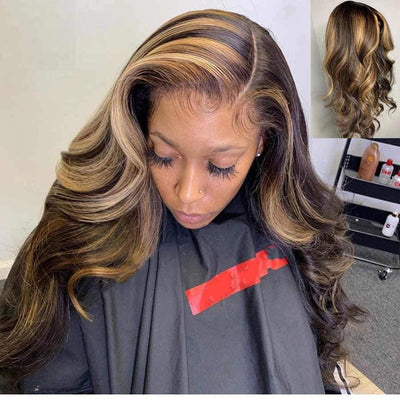4x4 Frontal Wig Honey Blonde Highlight Color Lace Front Wigs Body Wave Human Hair Wigs - MeetuHair