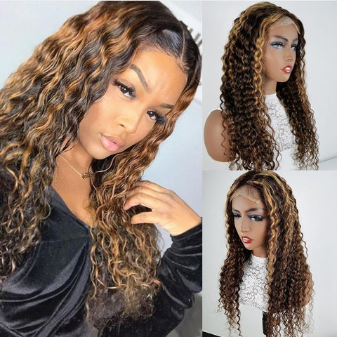 4x4 Frontal Wig Honey Blonde Highlight Color Lace Front Wigs Deep Wave Human Hair Wigs - MeetuHair