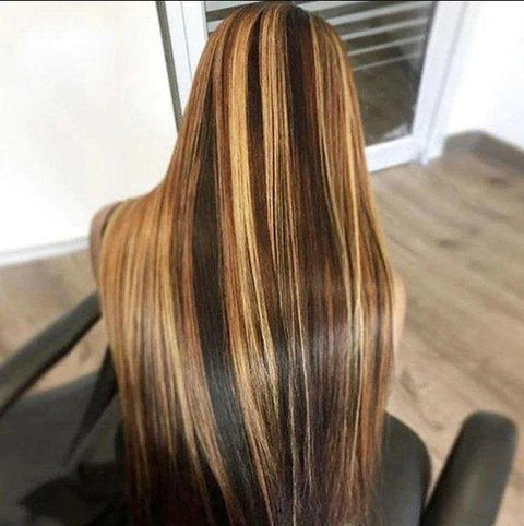 4x4 Frontal Wig Ombre Blonde Highlight Color Straight Hair Lace Front Human Hair Wigs - MeetuHair