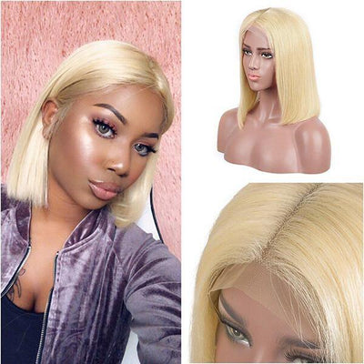 613 Blonde Color Lace Frontal Wig T part Short Bob Straight Hair Wig - MeetuHair