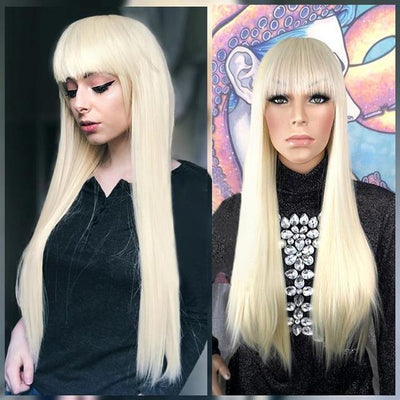 613 Blonde Wig 28 inch Long Straight Hair Wig with Bangs Synthetic Halloween Wig - MeetuHair