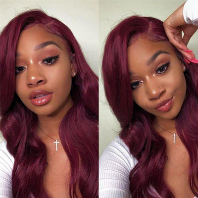 99J Burgundy Lace Wig Body Wave Hair 13x4 Lace Front Human Hair Wigs - MeetuHair