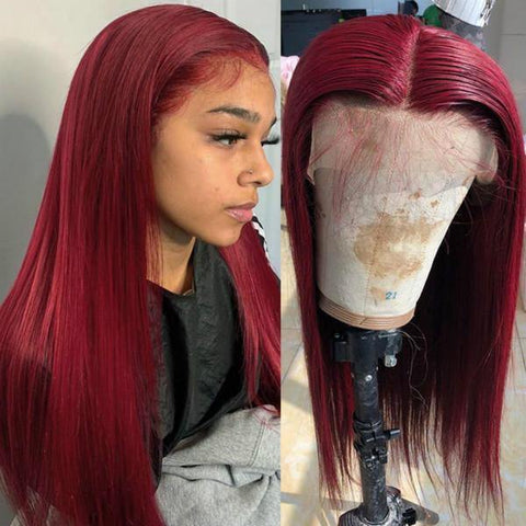 99J Color Transparent Lace Wig Straight Hair Lace Front Wig T Part Wig - MeetuHair
