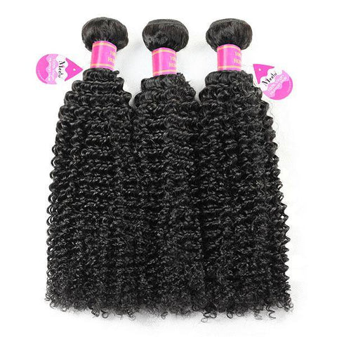 Brazilian Curly Virgin Human Hair 3 Bundles with 13*4 Lace Frontal