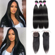 Best Bone Straight Hair Cambodian Hair 3 Bundles with 4*4 Lace Closure - MeetuHair