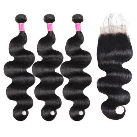 Brazilian Body Wave Virgin Human Hair 3 Bundles with 4*4 Lace Closure - MeetuHair