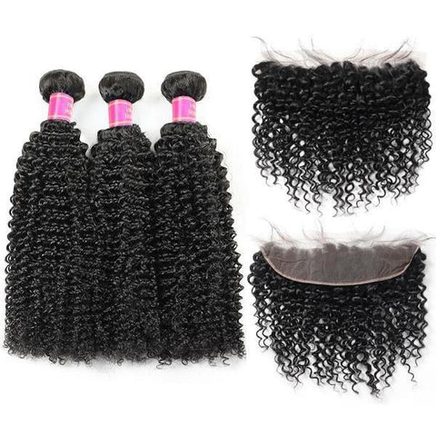 Brazilian Curly Virgin Human Hair 3 Bundles with 13*4 Lace Frontal - MeetuHair