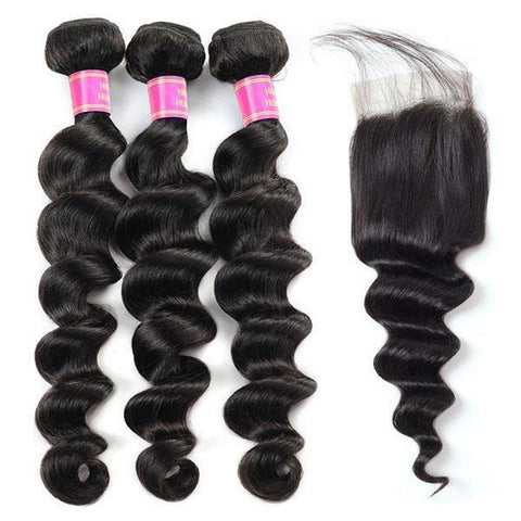 Brazilian Loose Deep Wave Virgin Human Hair 3 Bundles with 4*4 Lace Closure - MeetuHair