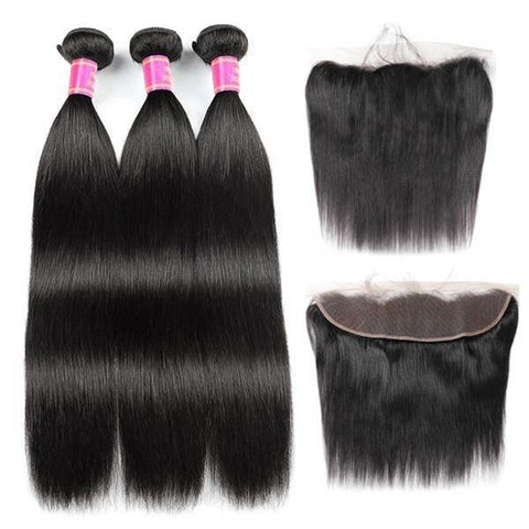 Brazilian Virgin Straight Human Hair 3 Bundles with 13*4 Lace Frontal - MeetuHair