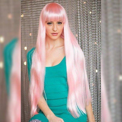 Crazy Pink Wig 28 inch Long Straight Hair Wig with Bangs Synthetic Halloween Wig - MeetuHair