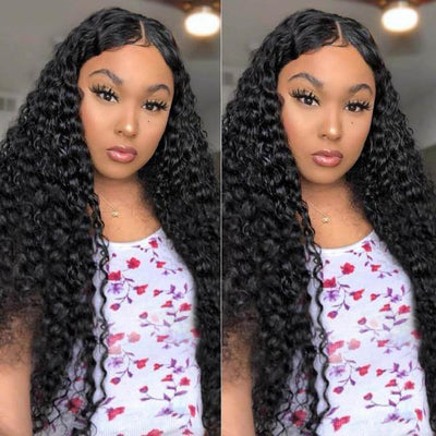 Deep Wave 4*4 Lace Front Wig 10A Peruvian Virgin Human Hair Wigs - MeetuHair