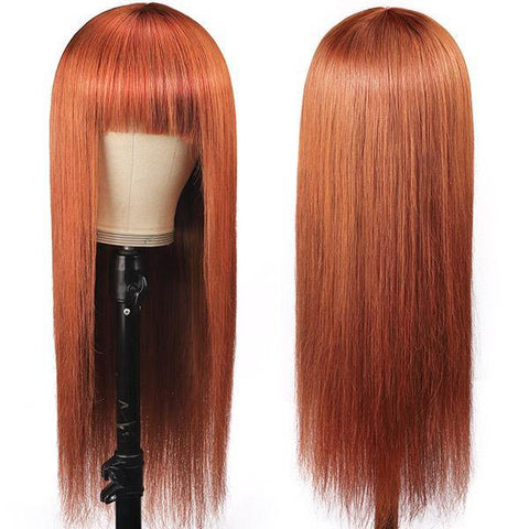 Ginger Color Straight Hair Wig with Bangs 100% Virgin Human Hair Wigs Machine Made Wigs - MeetuHair