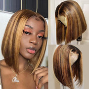 Highlight Color Straight Short Bob Wigs 4x4 Lace Closure Wig - MeetuHair
