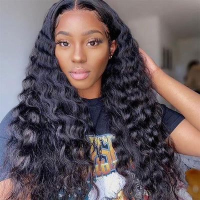 Loose Deep Wave Hair Wig HD Transparent Lace Front Wig T Part Wigs - MeetuHair