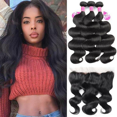 Malaysian Body Wave 3 Bundles with 13*4 Lace Frontal 10A Virgin Remy Human Hair - MeetuHair