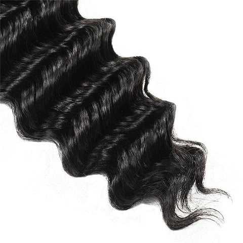 Meetu Hair Peruvian Deep Wave Virgin Human Hair 3 Bundles with 13*4 Lace Frontal - MeetuHair