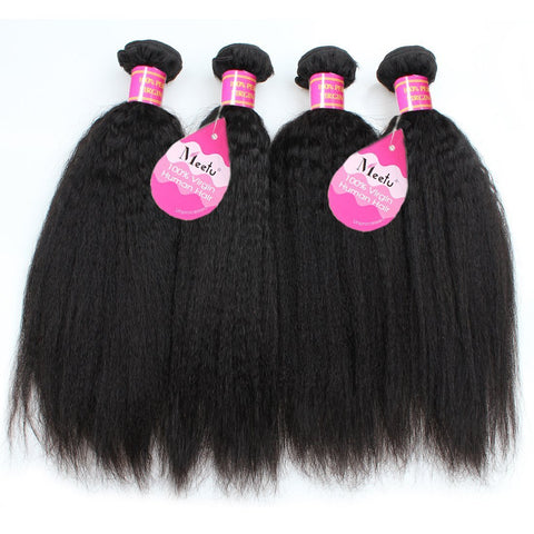 Meetu Peruvian Kinky Straight Human Hair 4 Bundles Unprocessed Yaki Hair Weave - MeetuHair
