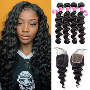Peruvian Loose Deep Human Hair 4 Bundles With 4*4 Lace Closure 10A Remy Virgin Hair Weave - MeetuHair