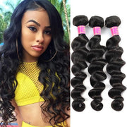 Peruvian Loose Deep Wave 3 Bundles 10A Virgin Remy Human Hair Weave - MeetuHair