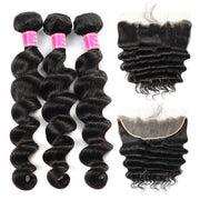 Peruvian Loose Deep Wave Hair 3 Bundles with 13*4 Lace Frontal Meetu Hair - MeetuHair