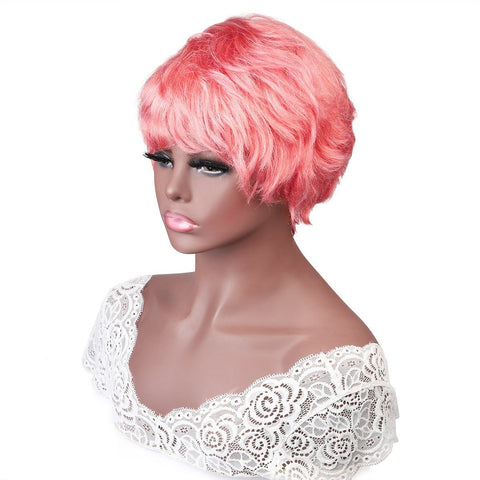 Pink Wig Short Wigs Pixie Cut Wigs 100% Human Hair Wigs No Lace Wig - MeetuHair