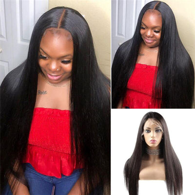 Straight Hair 4*4 Lace Front Wig 10A Brazilian Human Hair Wigs - MeetuHair
