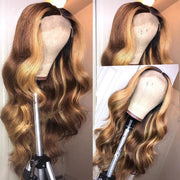 T Part Frontal Lace Wig Honey Blonde Highlight Color Body Wave Human Hair Wigs - MeetuHair