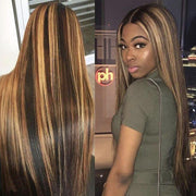T Part Frontal Wig Ombre Blonde Highlight Color Straight Hair Lace Front Human Hair Wigs - MeetuHair