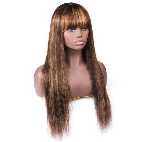 Virgin Straight Hair Wigs with Bang Highlight Color Machine Made Human Hair Wigs - MeetuHair