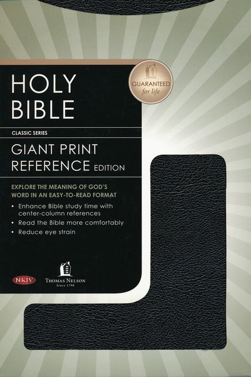 NKJV Giant Print Center Column Reference Bible Black bonded indexed