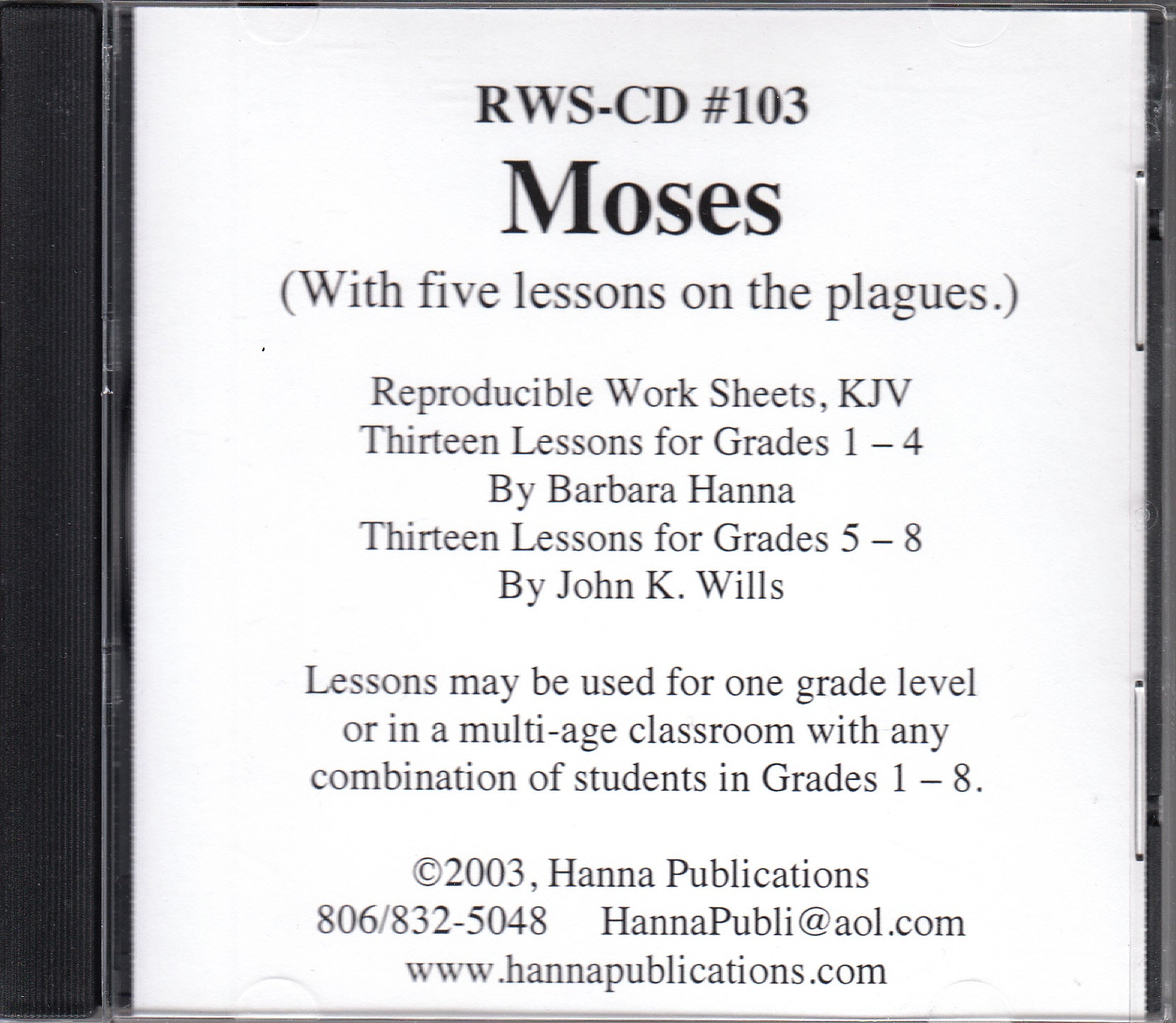 Moses  OT Bible lessons CD
