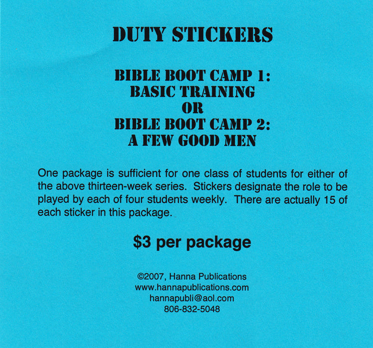 Bible Boot Camp Duty Stickers