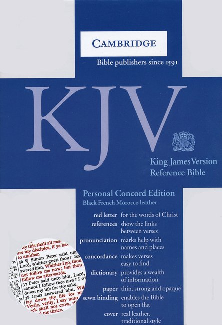 Kjv Personal Size Concord Reference Bible Black Genuine French Morocc One Stone Biblical Resources
