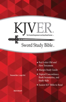 KJV Easy Reader Sword Bible Large Print Personal size Black Genuine leather, Indexed
