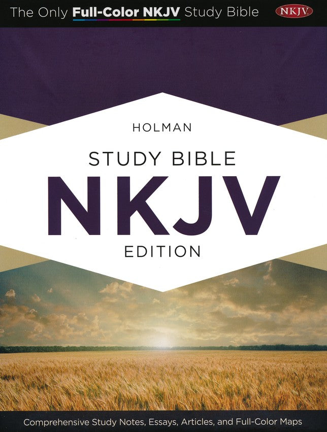 Holman NKJV Full-Color Study Bible Mahogany LeatherTouch Indexed