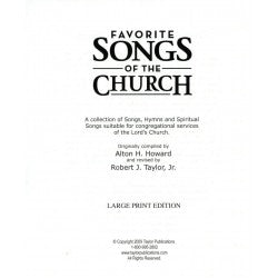 Favorite Songs of the Church Hymnal Large Print